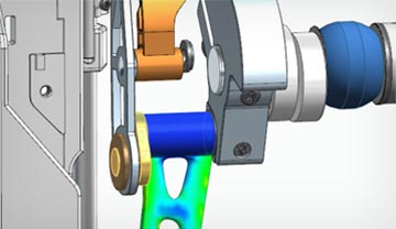 Generative design being used to perform stress analysis, ensuring components perform as needed