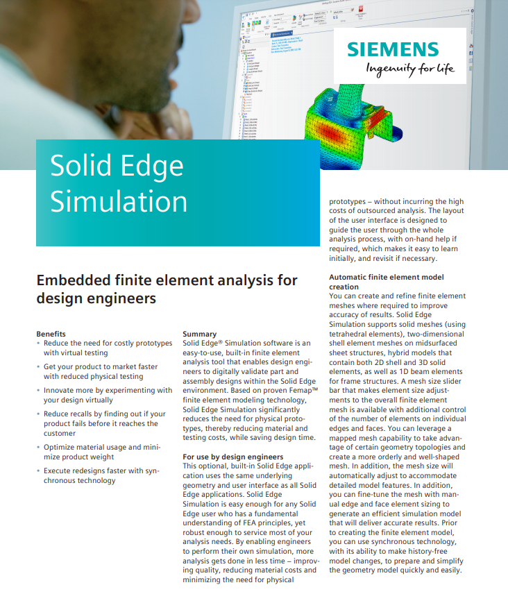 Solid Edge Simulation Data Sheet