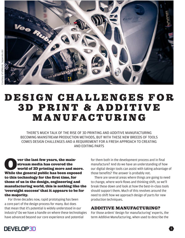Design Challenges for 3D Print & Additive Manufacturing