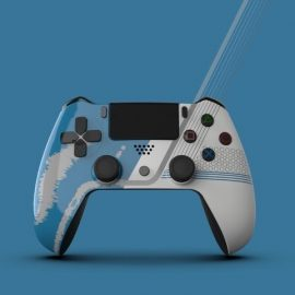 Fictional gaming controller created in Solid Edge, showcasing how The Fuel can show their customers a design in Solid Edge and the equivalent in Keyshot.